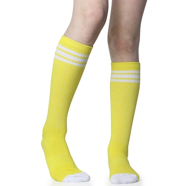 Yellow with White Stripes Tube Socks